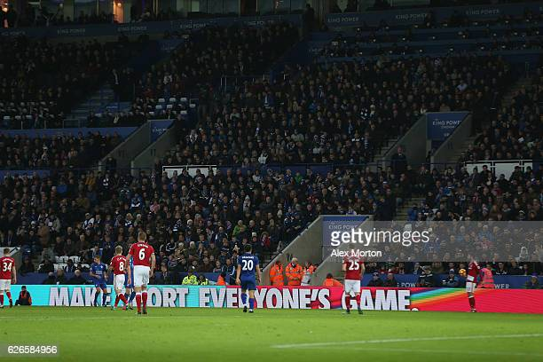 LED boards for the Stonewall campaign during the Premier League match between Leicester City and Middlesbrough at The King Power Stadium on November...