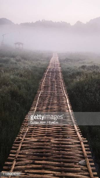 boardwalk against trees during foggy weather - bandung stock pictures, royalty-free photos & images
