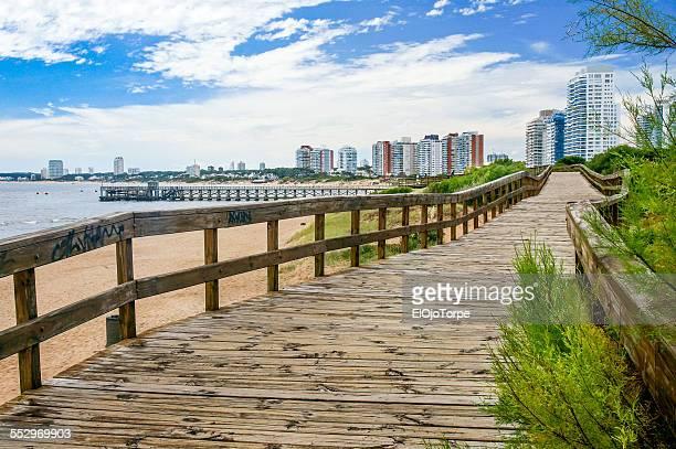Boardwalk and beach in Punta del Este, Uruguay
