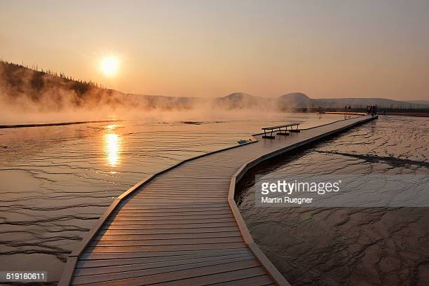 Boardwalk at Grand Prismatic Spring, sunset.