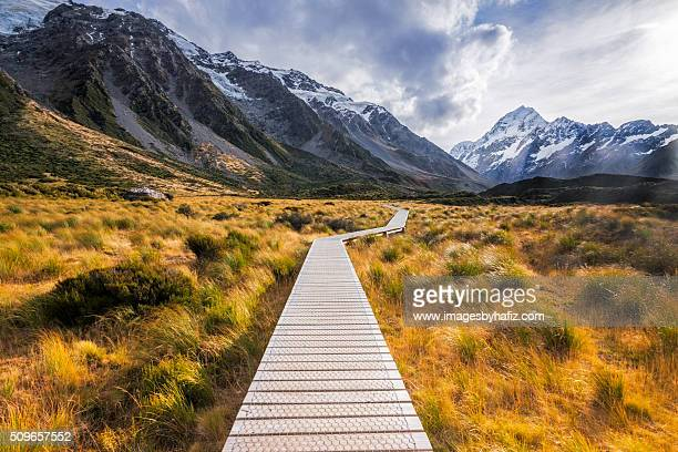 Boardwalk at Hooker Valley Track during Autumn