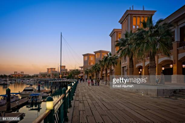 boardwalk at souq sharq in kuwait city, kuwait - kuwait city stock photos and pictures