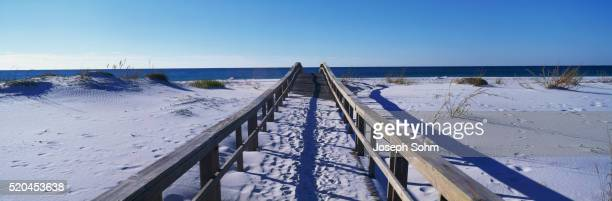 Boardwalk Covered by White Sand