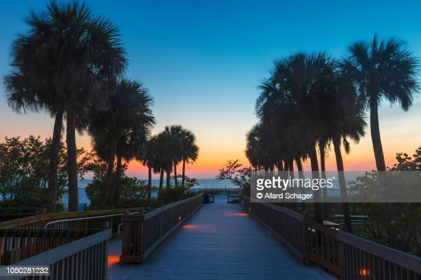 boardwalk in fort myers beach florida - fort myers beach stock pictures, royalty-free photos & images