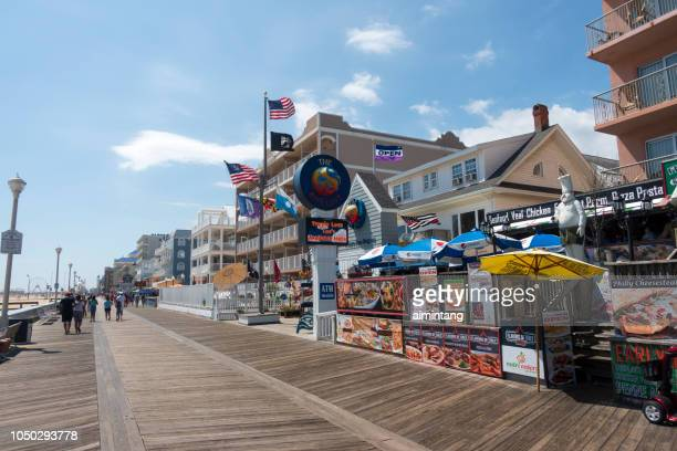 boardwalk in ocean city - ocean city maryland stock pictures, royalty-free photos & images