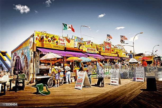 Boardwalk is a classic landmark of Coney Island, Brooklyn, New York