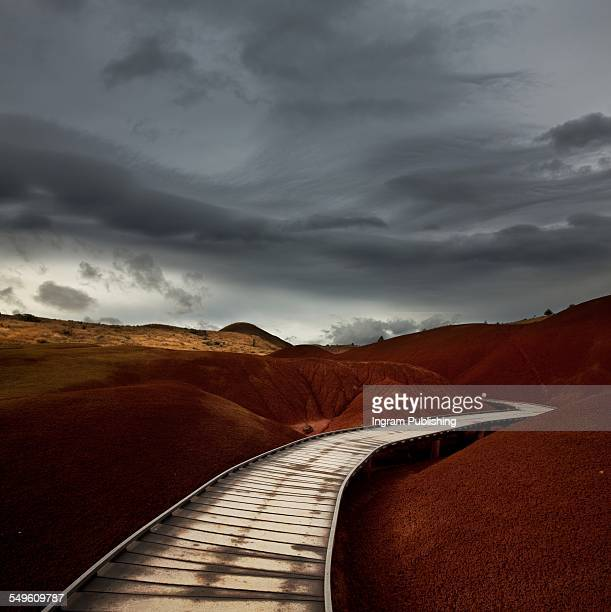 boardwalk on painted hills - painted hills stock pictures, royalty-free photos & images