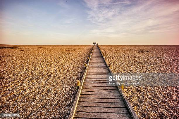 Boardwalk over a pebble beach