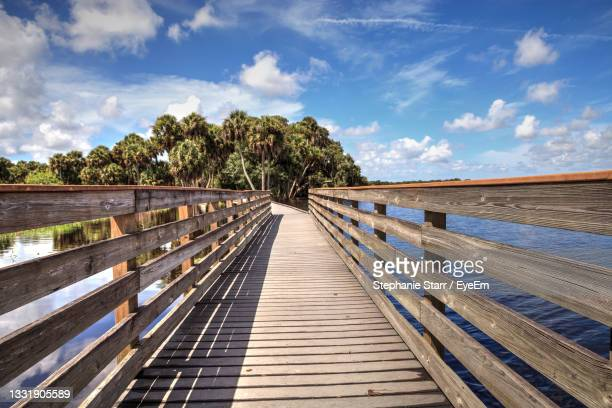 boardwalk overlooking the flooded swamp of myakka river state park in sarasota, florida. - florida us state stock pictures, royalty-free photos & images
