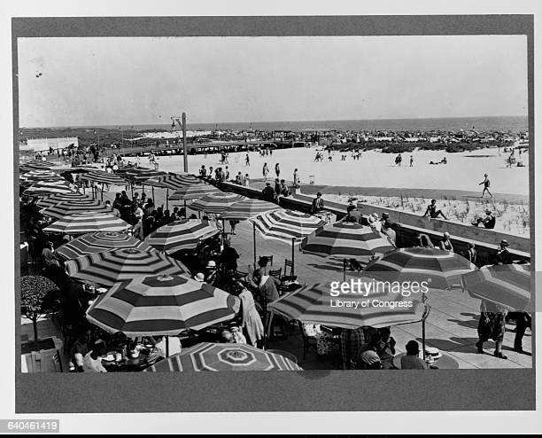 Boardwalk Restaurant Umbrellas Along Jones Beach New York