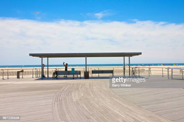 boardwalk shaded seating area,jones beach, ny - wantagh stock pictures, royalty-free photos & images