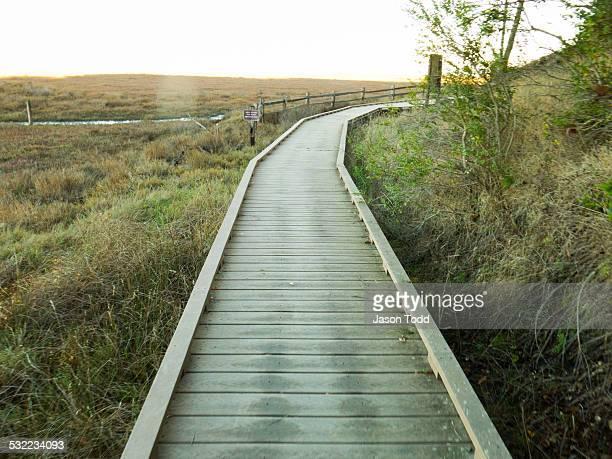 boardwalk through estuary marshland - san rafael california stock pictures, royalty-free photos & images