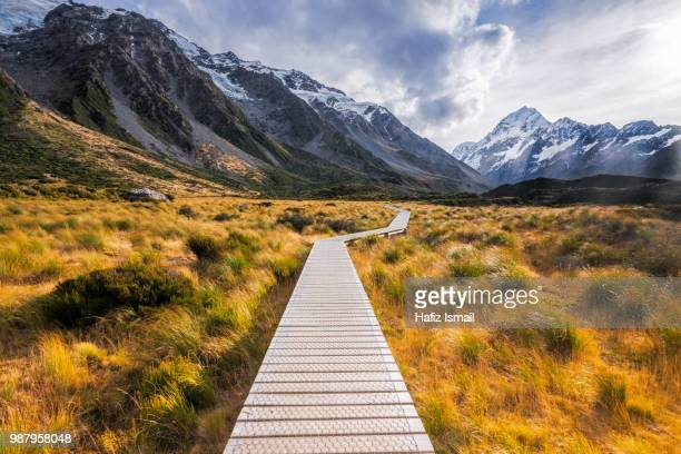 A boardwalk through Mount Cook National Park in New Zealand.