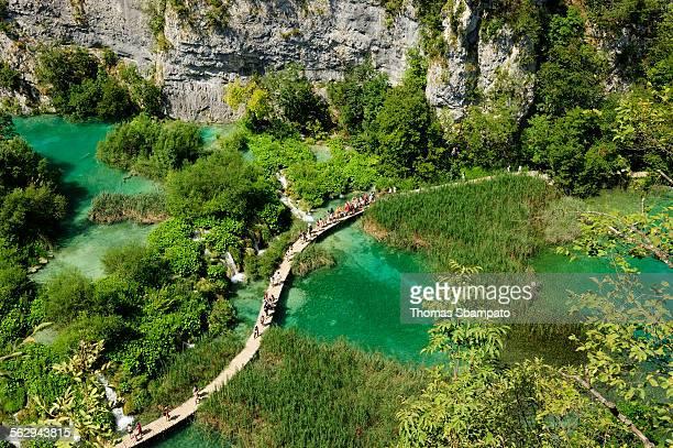 A boardwalk through Plitvice Lakes, Plitvice, Croatia