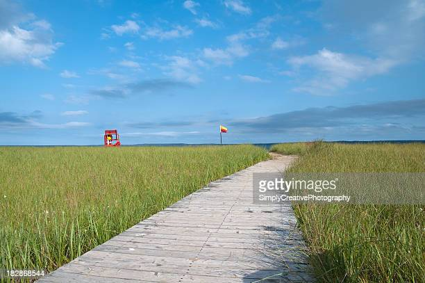 boardwalk to beach - flag of nova scotia stock pictures, royalty-free photos & images