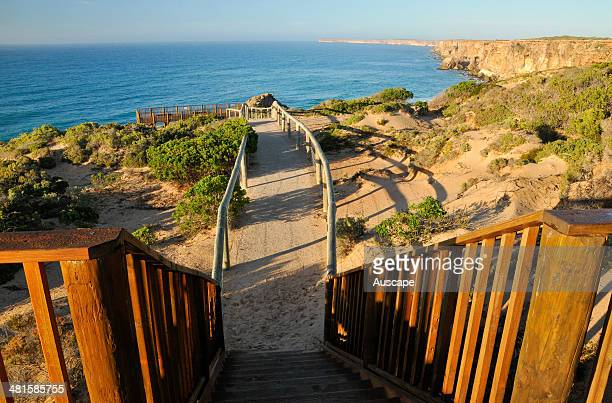 Boardwalk to lookout between June and October Southern right whales come here to calve the cliff line is the edge of the Nullarbor Plain and marks...