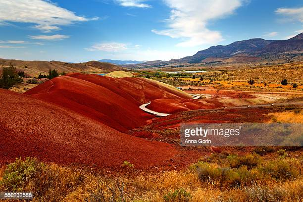 boardwalk trail through painted cove area of central oregon's painted hills on summer afternoon - john day fossil beds national park stock pictures, royalty-free photos & images