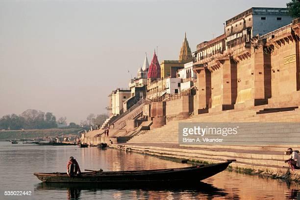Boat Along Ghats on Ganges River
