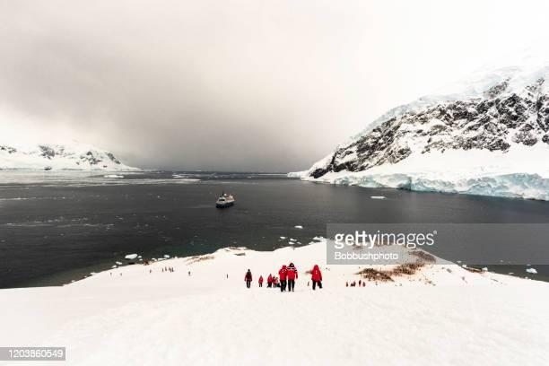 南極半島アンドバード湾ネコ港に停泊するボート - 南極海 ストックフォトと画像