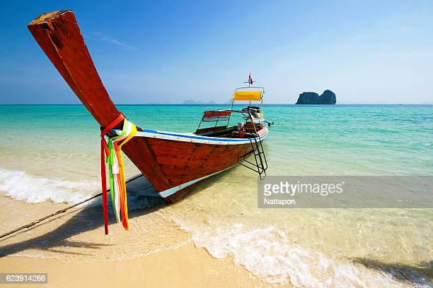 boat and andaman sea - ko samui stock photos and pictures