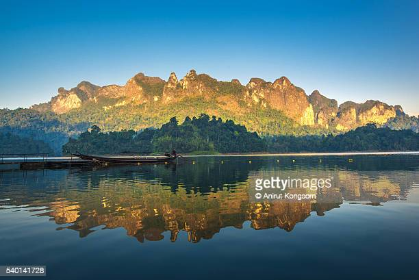 boat and beautiful mountain. - kao sok national park stock pictures, royalty-free photos & images