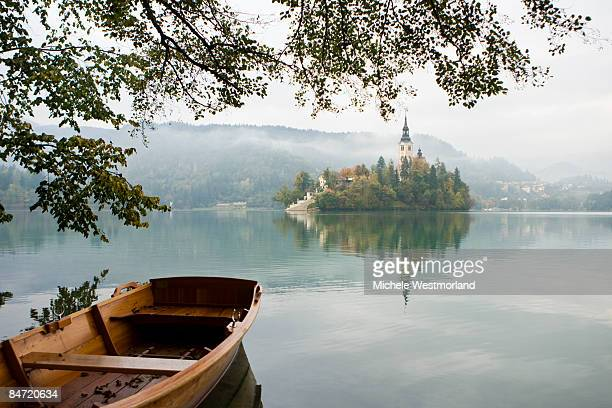 Boat and castle in Bled, Slovenia
