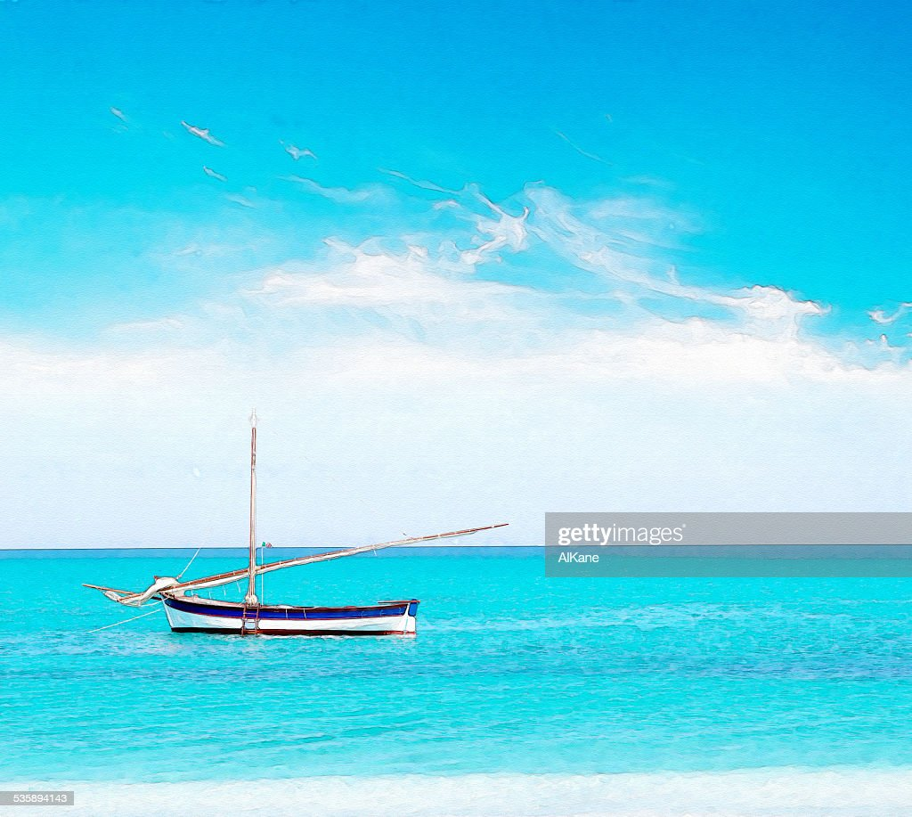 boat and clouds in water color : Stock Photo