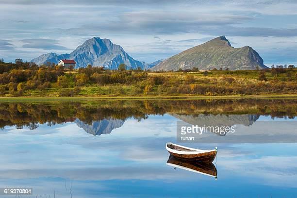 Boat and Lake in Lofoten, Norway