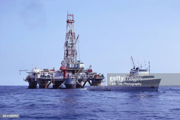 Boat and Natural Gas Platform