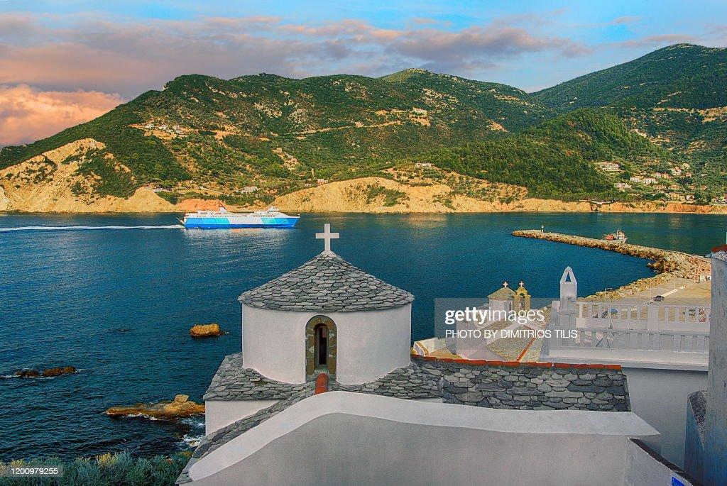 Boat arrival at Skopelos : Stock Photo