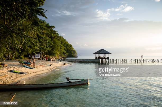 CONTENT] A boat at a beach on Kadidiri one of the paradise Togean Islands situated in the central part of Sulawesi and famous for good diving and...
