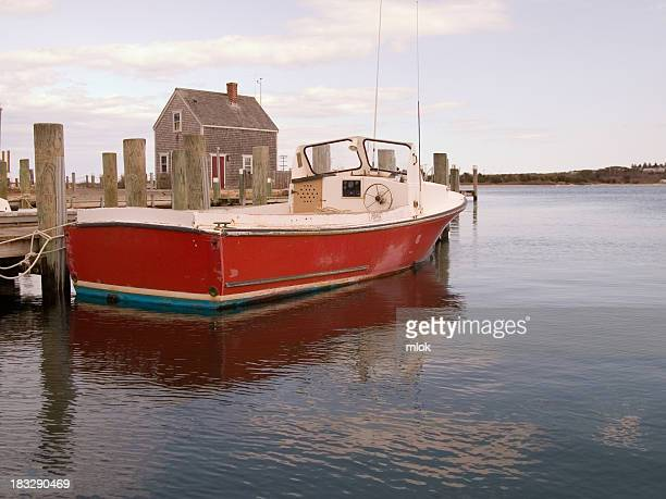 boat at dock - marthas vineyard stock pictures, royalty-free photos & images