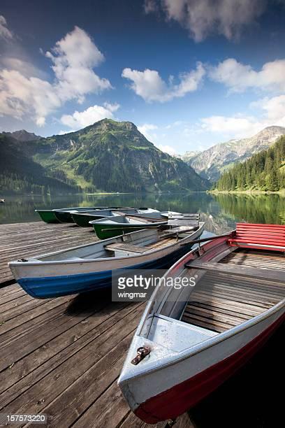 boat at lake vilsalpsee, tirol, austria