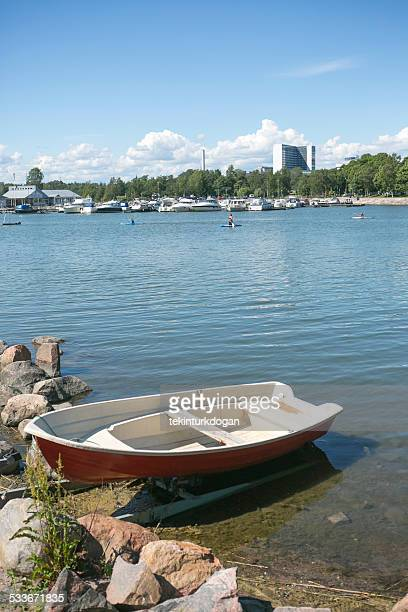boat at sea near Sibeliuksen puisto park in helsinki finland