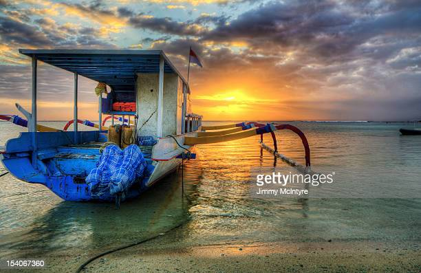 A boat at sunset on Bali