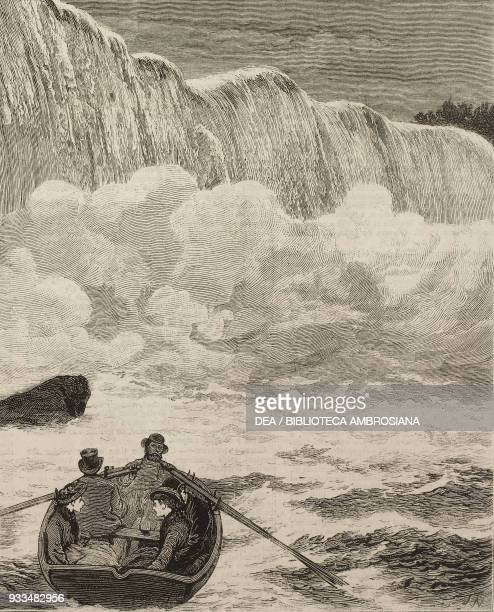 Boat at the foot of Niagara Falls United States of America and Canada illustration from the magazine The Graphic volume XIV no 365 November 25 1876