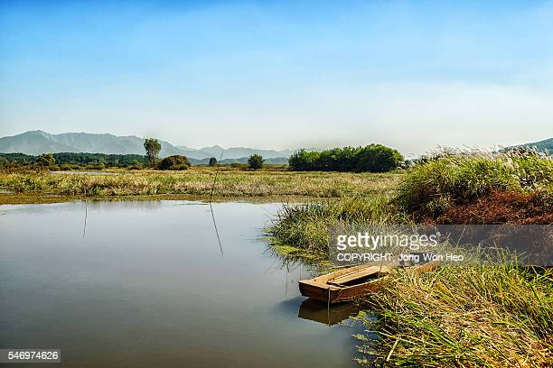 a boat at the shore of the upo wetland in south korea - sumpf stock-fotos und bilder
