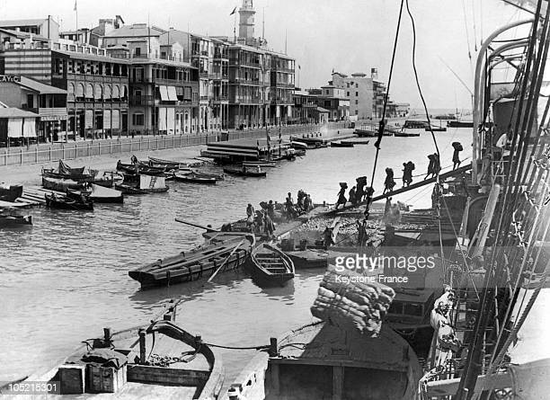 Boat Being Loaded In The Old Port Of Marseille In 1930