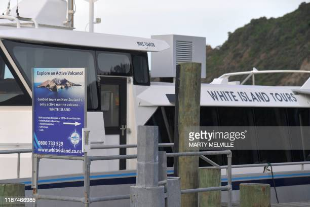 A boat belonging to White Island Tours is seen after tours were suspended in Whakatane on December 10 following the volcanic eruption on White Island...