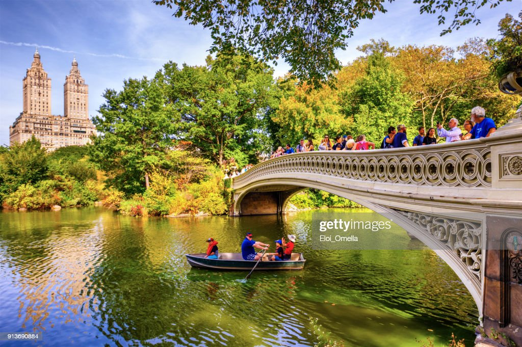 boat bow bridge Central Park Autumn New York Manhattan photo : Stock Photo