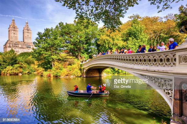 boat bow bridge Central Park Autumn New York Manhattan photo