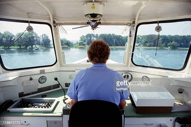 Boat captain working