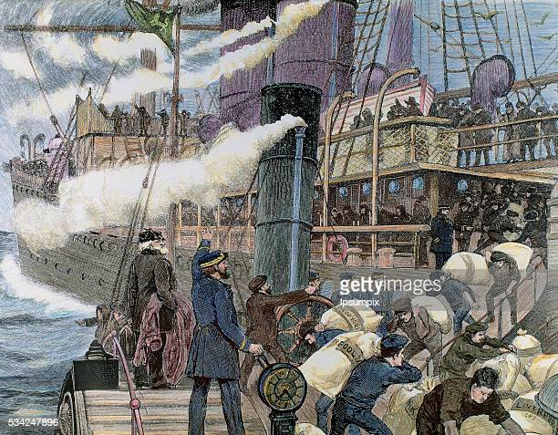 Boat carrying goods in the port of London. 19th century colored engraving.