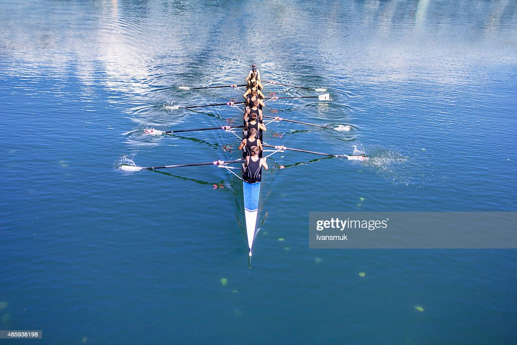 Boat coxed with eight Rowers : Stock Photo