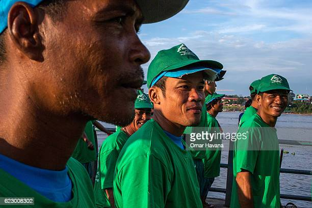 Boat crew members stand in formation listening to instructions on the morning of the first day of the Water Festival on November 13 2016 in Phnom...