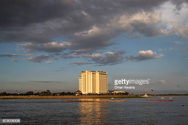 Boat crews race on the Tonle Sap river during the first day of the Water Festival on November 13 2016 in Phnom Penh Cambodia The yearly threeday...