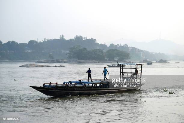 A boat crosses Brahmaputra River during the FIFA U17 World Cup India 2017 tournament at on October 15 2017 in Guwahati India
