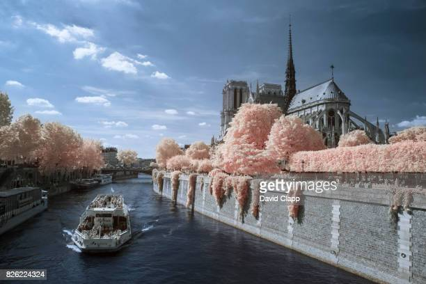 Boat crossing the river Seine in Paris