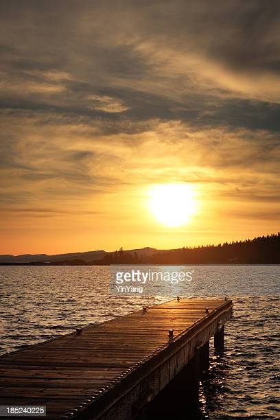 Boat Dock and Lake Front of Minnesota at Sunset Vt