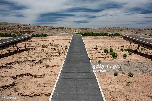 A boat dock stands at what used to be the bottom of Lake Mead at the abandoned Echo Bay Marina in Overton Nevada US on Thursday June 4 2015 The...